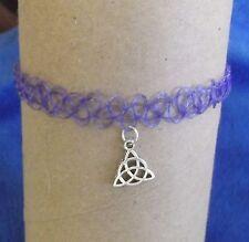 Handmade Tibetan Silver Celtic Triangle Knot Pendant on Purple Flexible Choker