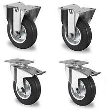 4 Piezas Ruedas de transporte dirigibles giratorias fijas 100mm Neumáticos goma