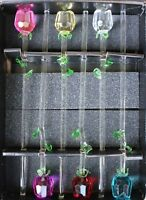 "1 12"" Glass Spring Rose Flower with Green Leave, 6 colors to choose from, beauty"