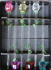 """1 12"""" Glass Spring Rose Flower with Green Leave, 6 colors to choose from, beauty"""