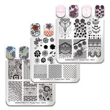 BORN PRETTY Nagel Stempel Schablone Square Blume Gitter Nail Art Stamping Plates