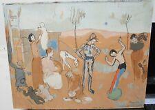 PABLO PICASSO PEOPLE LANDSCAPE LARGE OLD ORIGINAL SILKSCREEN ON PAPER BOARD