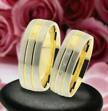 2 Trauring Eheringe Verlobungsringe , GOLD PLATIERT * J241-3