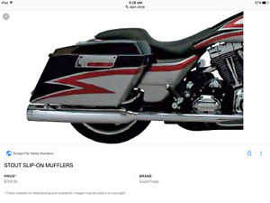 """Supertrapp Stout 4"""" Chrome Slip-On Exhaust Mufflers 95-09 Touring 1801-0519"""