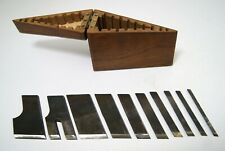 Box set 10 wood Plane Skew Cutters Stanley No.46 iron blades vintage carpentry