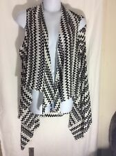 NEW Womens Plus Catherines Sz 2X 3X 4X 5X Black White Thin Cardigan Vest Duster
