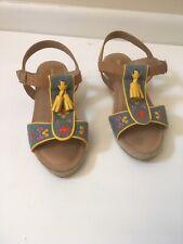 hanna andersson Size 3M Open Toe Sandal Shoe W/Strap Tassels Slight Wedge Heels