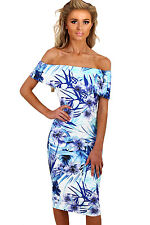 Abito aderente stampato Floreale Balza Fascia Cerimonia Party Floral Dress S