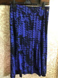 TIGI Blue & Black Print Semi Flared SKIRT Size 18/20 Elasticated Waist