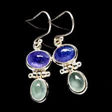 "Tanzanite, Aquamarine 925 Sterling Silver Earrings 1 1/2"" Jewelry E380887F"