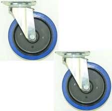2 Stück 200 mm SL Gummi Rollen Blue Wheel Transportrollen Lenkrollen Lenkrolle