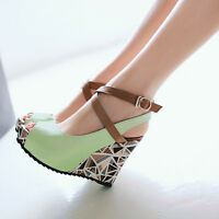 Fashion Women's Wedge High Heel Ankle Strap Open Toe Platform Shoes Plus Size