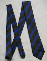 NEW BROWN BLUE STRIPED TIE MENS NECKTIE OLD SCHOOL COLLEGE STRIPES VINTAGE