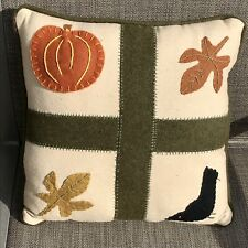 EUC Halloween / Fall Leaves Design, Wool Applique Square Pillow, Size 12""