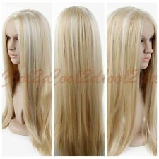 Women Heat Resistant Synthetic Fiber Hair Platinum Blonde Long Straight  Wig