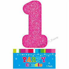 CAKE CANDLE NUMBER 1 ONE GLITTER PINK 1ST BIRTHDAY PARTY GIRLS CAKE TOPPER FIRST