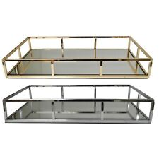 Silver / Gold Metal Rectangular Dressing Vanity Serving Tray Mirror Glass Base