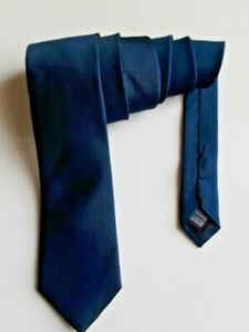 YSL Mens Silk Necktie Navy Blue