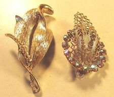 2 Vintage 50's Glass Crystal Rhinestone Pin Brooch Lot  Gold Tone Clear