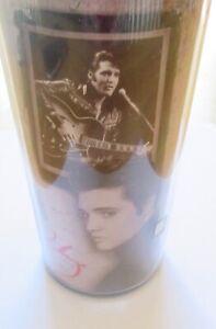 Elvis Presley Travel Mug -pictures of Elvis- black & white- red signature