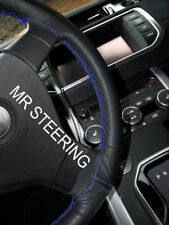 FOR HYUNDAI iX35 2010-15 BLACK LEATHER STEERING WHEEL COVER R BLUE DOUBLE STITCH