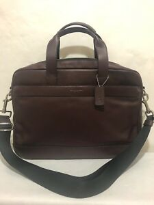 COACH Men's F54801 $450 Leather Hamilton Briefcase Crossbody Laptop Bag, Oxblood