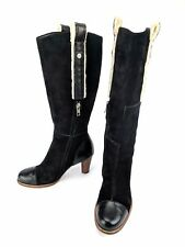 UGG Australia Tess 5504 Black Suede Tall Boots Sheepskin Leather Heel Size 5.5