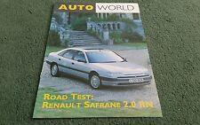 1993 RENAULT SAFRANE 2.0 RN UK BROCHURE AUTOWORLD AUTUMN 1993 ROAD TEST REPRINT