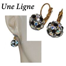 Une ligne Earrings Color Gold Sleepers Beads Crystal Jewel
