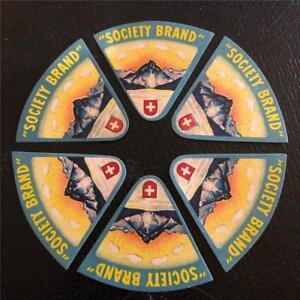 6 ORIGINAL VINTAGE SWISS TRIANGULAR CHEESE LABELS - SOCIETY BRAND - MOUNTAIN