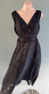 ❤️ LIZ JORDAN Cocktail V-Neck A-Line Midi Dress Black Size 10 Buy7=FreePost L838