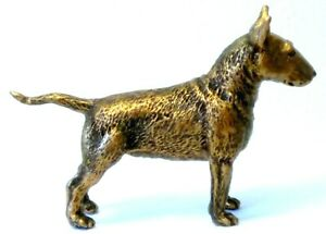 PEWTER HAND MADE MINIATURE BULL TERRIER DOG IN BRONZE  COLOUR STATUETTE
