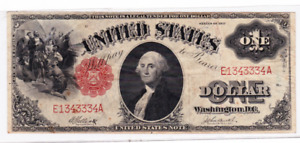 1917 $1 United States Note Red Seal in Very Fine Condition, Serial #: E1343334A.