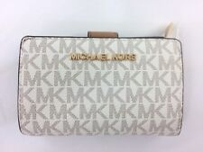 3e0ab757fa02 New Authentic Michael Kors Jet Set Travel Vanilla PVC Bifold Zip Coin Wallet