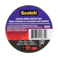 3M™ Linerless Electrical Rubber Tape 2242, 3/4 in x 15 ft, Black, 1 in core