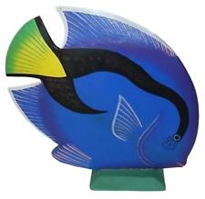 """Hand Carved Wooden Fish Sculpture (13"""" x 13"""") Blue A978"""