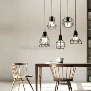 Vintage Retro Lampshade Pendant Trouble Light Bulb Guard Cage Ceiling  H Q