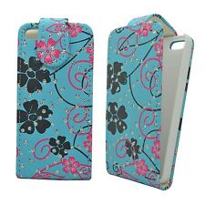 CASE COVER FOR APPLE IPHONE 4/4S BLUE PINK AND GREY FLOWER SWIRL GLITTER FLIP