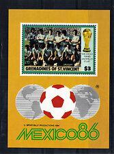 St VINCENT GRENADINES $3 MINIATURE SHEET FOOTBALL WORLD CUP 1986 MNH URUGUAY