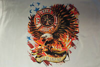 first in last out FD fire depart. fireman eagle t-shirt tee firefighter shield