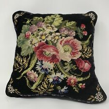 "Floral Flower Embroidered Needlepoint Pillow Velvet Black Wool Back 13""Square"