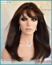 Premium Human Hair Monopart Long w/ Bangs Wig #4  Slinky Girl Next Door Look 462