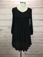 Anthropologie Deletta Swing Tunic Top Black Long Sleeve Blouse Women's Size M