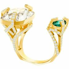 NIB $149 Swarovski Haven Open Ring Green/clear Size 55/US 7/M #5288948