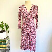 Avoca Anthology Dress Size 10 - 12 Pink White Black Wrap Bust Sheath 3/4 Sleeve