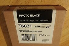 03-2018 GENUINE EPSON T6031 PHOTO BLACK 220ml INK STYLUS PRO 7800 9800 7880 9880