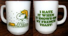 "Vintage Snoopy Cup Anchor Hocking Fire King ""I Hate...Snow On…My French ToasT"""