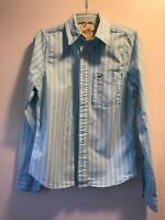 Hollister mens m button down western style shirt Baby Blue