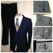 Rare 1960'S Original Sammy Davis Jr Mens Navy Suit 36L Ratpack Sharkskin 32X32