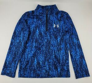 Under Armour Youth Size 6 Blue 1/4 Zip Long Sleeve Lightweight Pullover Shirt